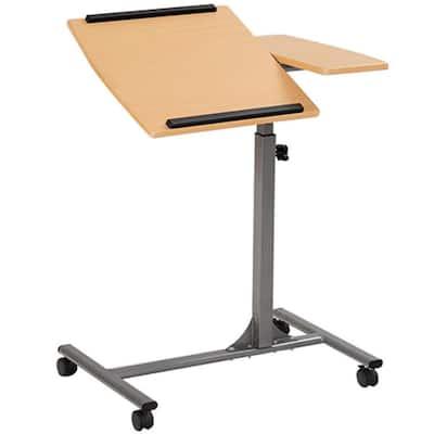 18 in. Rectangular Beige Laptop Desk with Adjustable Height Feature