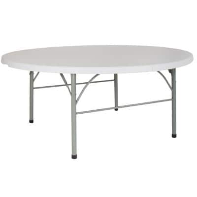 71 in. Granite White Plastic Tabletop Metal Frame Folding Table