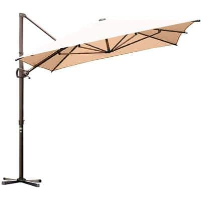 8 ft. x 12.5 ft. Aluminum Cantilever Patio Umbrella with Cross Base in Beige