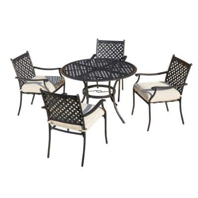 5-Piece Metal Outdoor Dining Set with Beige Cushions