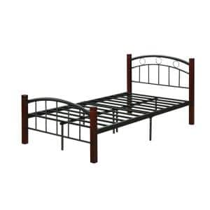 Complete Twin Metal Bed with Headboard, Footboard and Mahogany Wood Posts