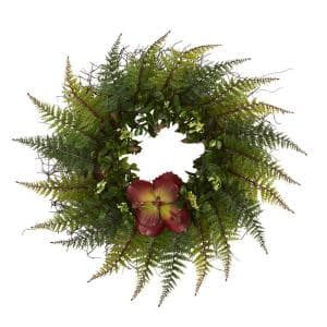 23 in. Assorted Fern and Succulent Artificial Wreath