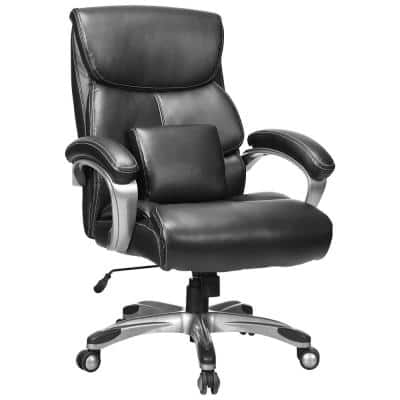 Tall Black Leather Adjustable Height Executive Chair with Arms