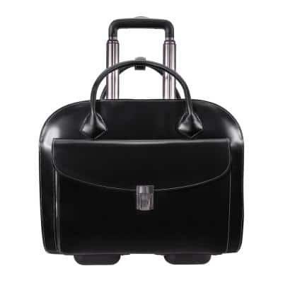 Mcklein Granville 15 in. Black Top Grain Cowhide Leather Wheeled Ladies Laptop Briefcase