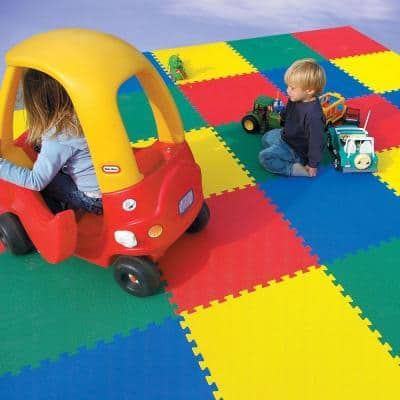 Premium Red 24 in. x 24 in. x 5/8 in. Foam Interlocking Floor Mat (Case of 25)