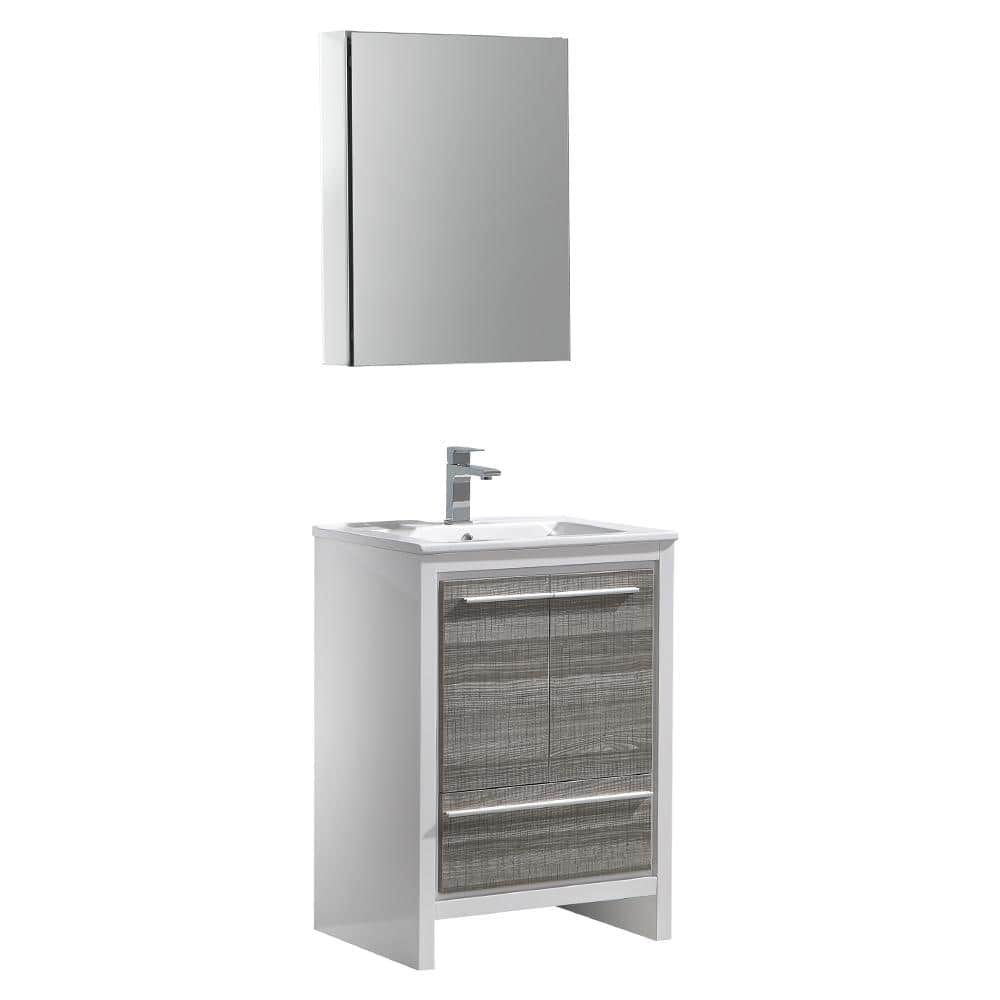 Fresca Allier Rio 24 In Modern Bathroom Vanity In Ash Gray With Ceramic Vanity Top In White And Medicine Cabinet Fvn8125ha The Home Depot