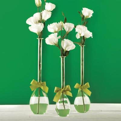 3-Sizes Sleek and Chic with Sage Green Ribbon Includes Clear Teardrop Vases (Set of 3)