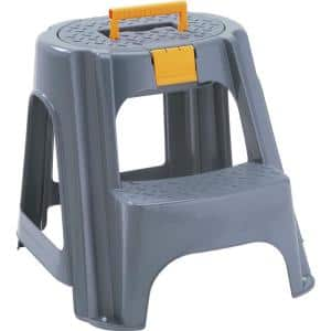 250 lbs. Capacity 2-Step Plastic Stool and a Top Organizer