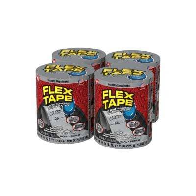 Flex Tape Gray 4 in. x 5 ft. Strong Rubberized Waterproof Tape (4-Piece)