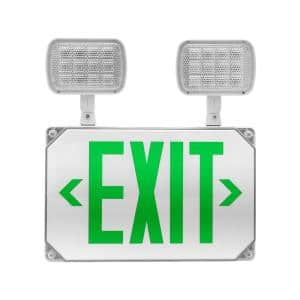 ECL5 Series 25-Watt Equivalent Integrated LED Outdoor White Exit Sign with Adjustable Light Heads, Green Lettering