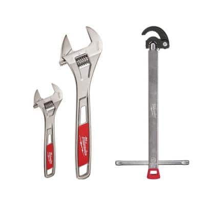 6 in. and 10 in. Adjustable Wrench with 1.25 in. Basin Wrench (3-Piece)