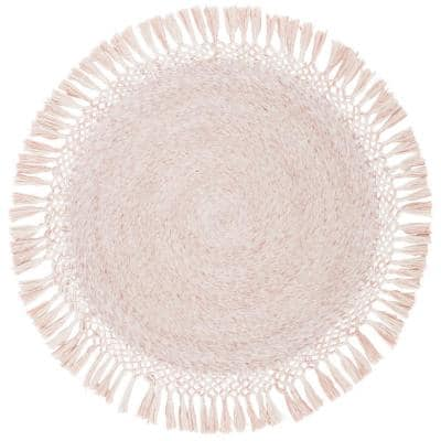 Sahara Pink 5 ft. x 5 ft. Round Solid Area Rug