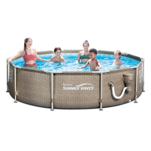 Summer Waves 10 Ft X 30 In Round Framed Swimming Pool With Exterior Wicker Print Tan P20010305167 The Home Depot