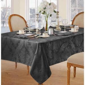 60 in. W x 120 in. L Gray Barcelona Damask Fabric Tablecloth