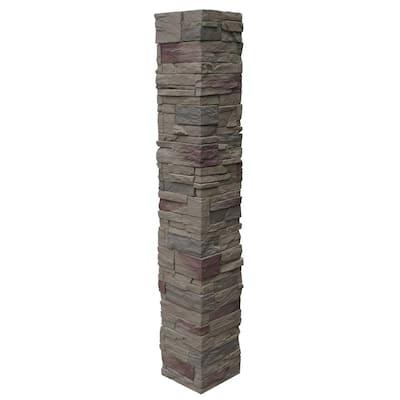 Country Ledgestone 8 in. x 8 in. x 47 in. Teton Buff Polyurethane Faux Stone 2-Piece Split Post Cover