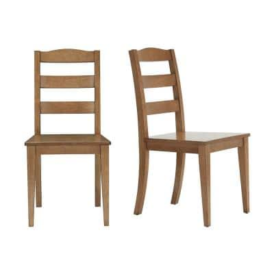 Patina Oak Finish Dining Chair with Ladder Back (Set of 2) (17.72 in. W x 36.77 in. H)