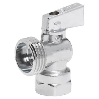 1/2 in. FIP Inlet x 3/4 in. Male Hose Thread Outlet 1/4 in. Turn Angle Valve, Chrome