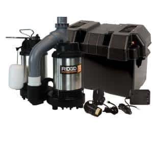 1/2 HP Ridgid Battery Back Up Sump Pump System