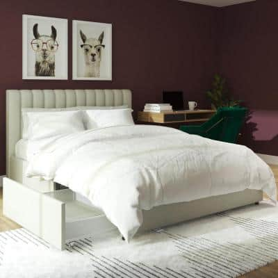 Brittany Gray Upholstered Full Size Bed with Storage Drawers