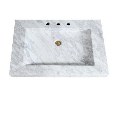 33 in. W x 22 in. D x 3 in. H Stone Integrated Vanity Top in Carrera White