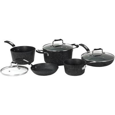The Rock Bakelite 8-Piece Aluminum Nonstick Cookware Set in Black Speckle