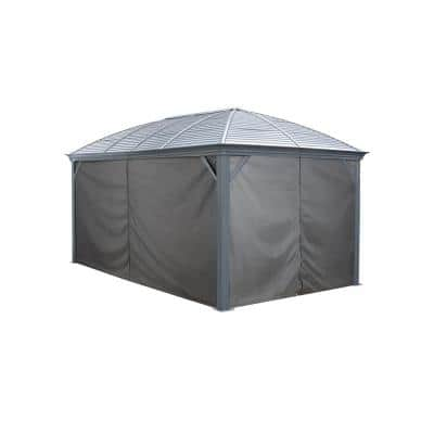 16 ft. W x 10 ft. H Curtains (Set of 4) for Moreno Sun Shelter in Grey with Hooks (Gazebo Not Included)