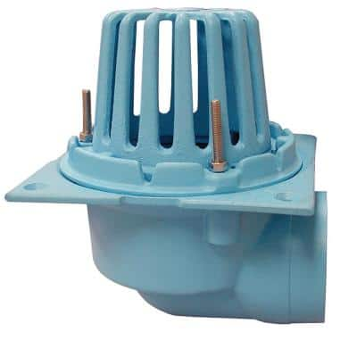 3 in. No Hub CO.D.e Blue Cast Iron Roof Drain with Side Outlet