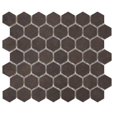 LuxeCraft Hexagon 10 in. x 12 in. x 6.35 mm Obsidian Black Glazed Ceramic Mosaic Tile (0.81 sq. ft./Each)