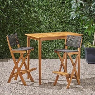Polaris Natural 3-Piece Wood Rectangle 41 in. Outdoor Serving Bar Set
