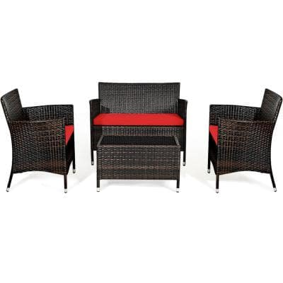 4-Pieces Rattan Patio Furniture Set with Red Cushions