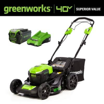 21 in. 40-Volt Battery Cordless Self-Propelled Lawn Mower with 5.0 Ah Battery and Quick Charger