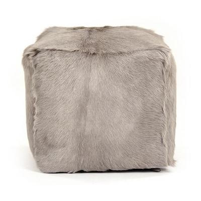 Tibetan Light Grey Goat Fur Pouf