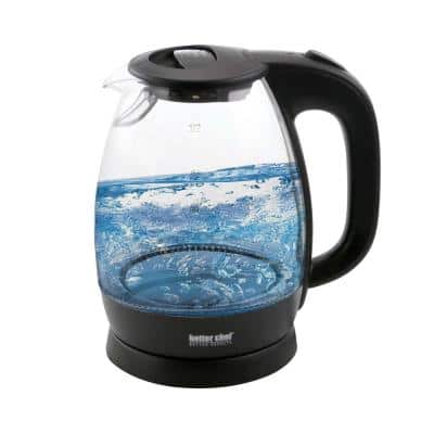 7-Cup Black and Clear Glass Cordless Electric Tea Kettle