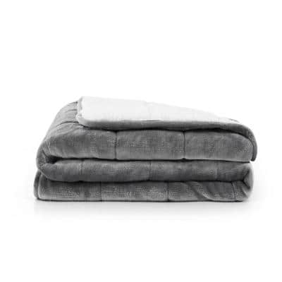 Grey Velvet to Sherpa Reverse 50 in. x 60 in 10 lbs.Weighted Throw Blanket