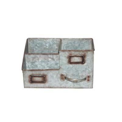3-Bin Galvanized Metal Gray Color Tissue Box with Attached Label Slots