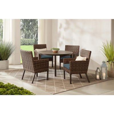 Fernlake 5-Piece Taupe Wicker Outdoor Patio Dining Set with Sunbrella Denim Blue Cushions
