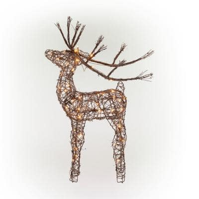 35 in. Tall Rattan Reindeer Decoration with Halogen Lights