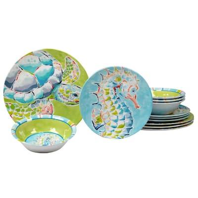 Deep Sea 12-Piece Multicolored Melamine Dinnerware Set (Service for 4)