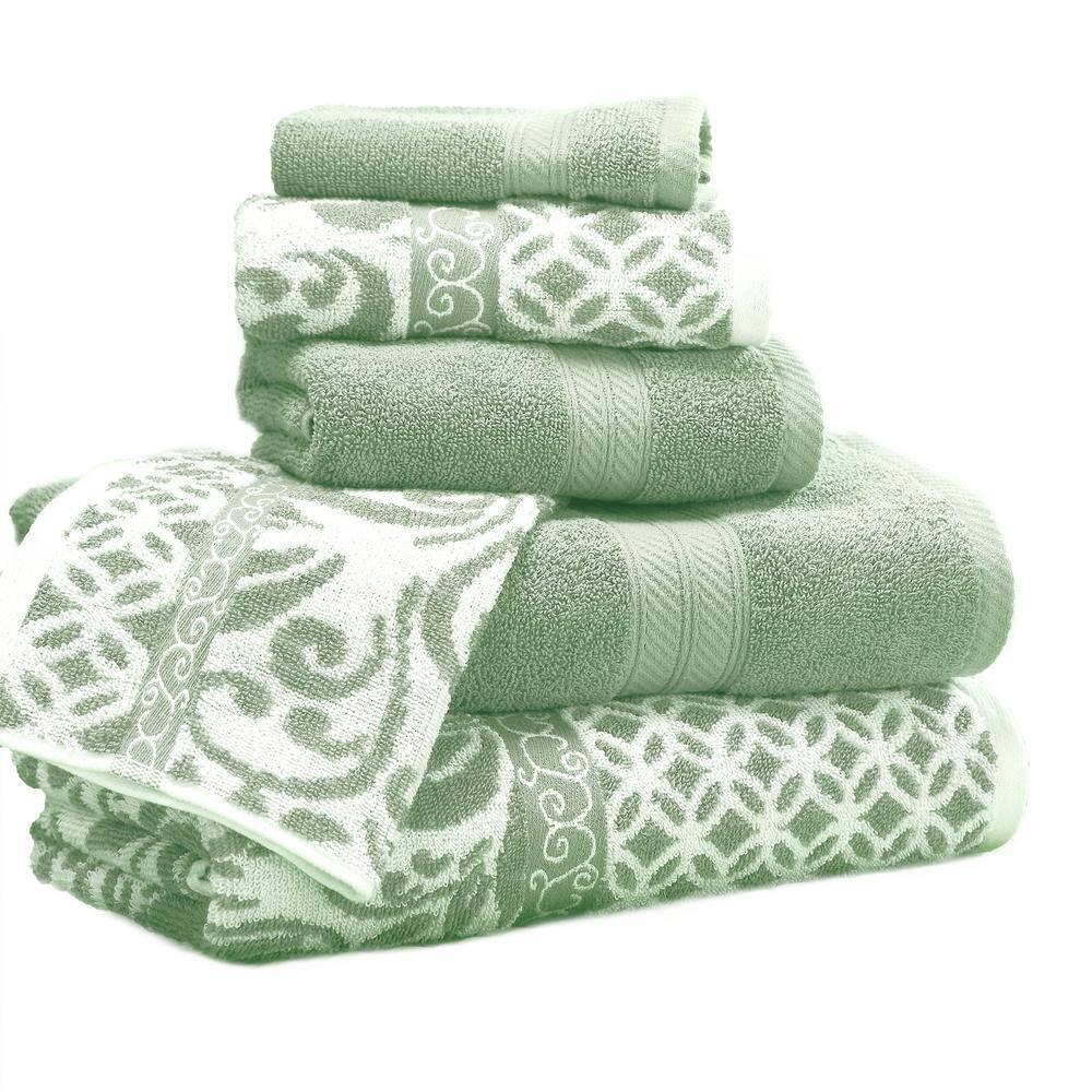 Modern Threads Trefoil 6 Piece Sage Geometric Bath Towel Set 5jqydtlg Tfs St The Home Depot