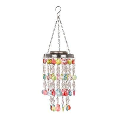 18.75 in. H Solar Lighted Hanging Chandelier with Acrylic Multi-Colored Jewel Beads
