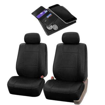 Fh Group 47 In X 23 In X 1 In Pu Leather Half Set Front Seat Covers Dmpu001black102 The Home Depot