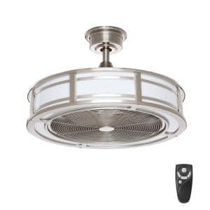 Brette II 23 in. LED Indoor/Outdoor Brushed Nickel Ceiling Fan with Light and Remote Control