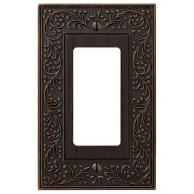English Garden 1 Gang Rocker Metal Wall Plate - Aged Bronze