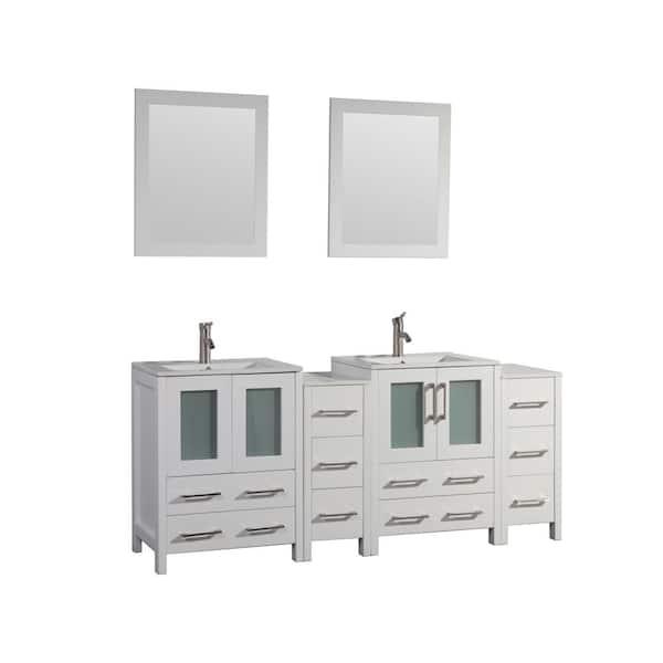Vanity Art Brescia 72 In W X 18 In D X 36 In H Bath Vanity In White With Vanity Top In White With White Basin And Mirror Va3024 72w The Home Depot
