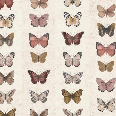 Jewel Butterflies Stripe Vinyl Strippable Roll (Covers 55 sq. ft.)