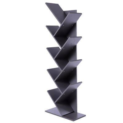 55.5 in. Gray Wood 8-shelf Etagere Bookcase with Storage