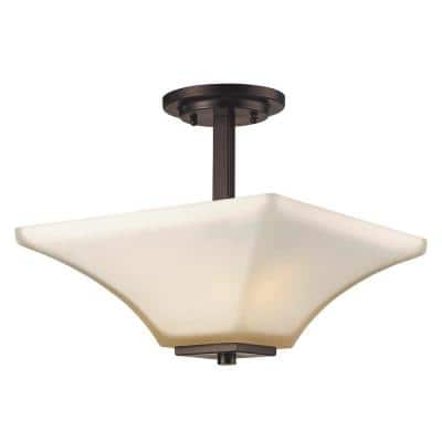 Cameo 13.25 in. 2-Light Oil Rubbed Bronze Semi Flush Mount with Frosted Glass Shade