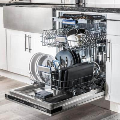 24 in. in DuraSnow Top Control Tall Tub Dishwasher with Stainless Steel Tub and 3rd Rack
