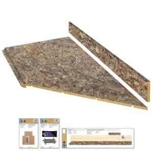 8 ft. Brown Laminate Countertop Kit With Right Miter and Full Wrap Ogee Edge in Winter Carnival Granite