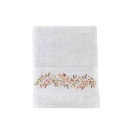 Misty White Floral Cotton Single Bath Towel